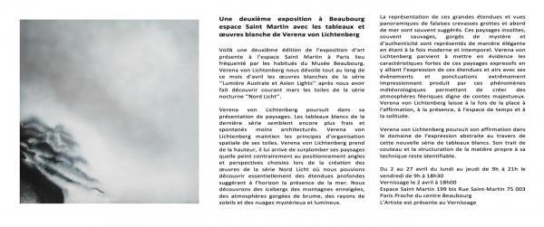 1 exposition d art et de peinture l artiste peintre verena von lichtenberg est a paris beaubourg espace st martin