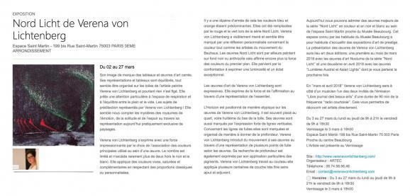 1 exposition d art et de peinture verena von lichtenberg et ses oeuvres d art a l espace staint martin paris
