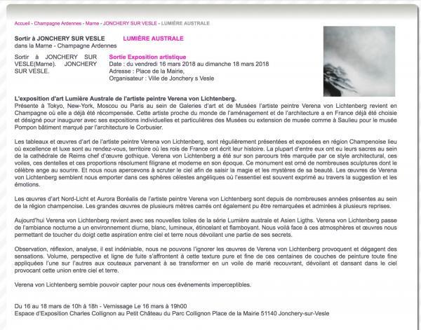 1 info presse exposition d art et de peinture verena von lichtenberg artiste peintre de paris a jonchery sur vesle reims