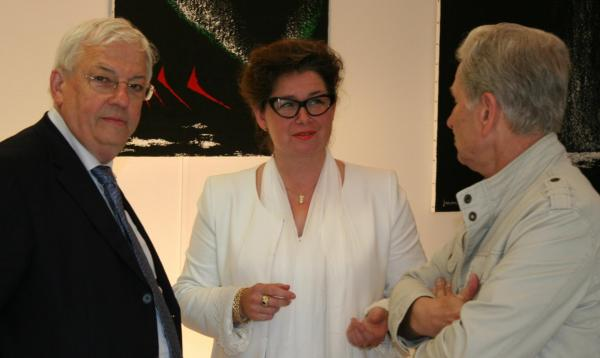 229 art exhibition in the french museum pompon jean pierre pluyaud vice president de la casqy verenan von lichtenberg and jean pierre fougeray adjoint au maire de saulieu