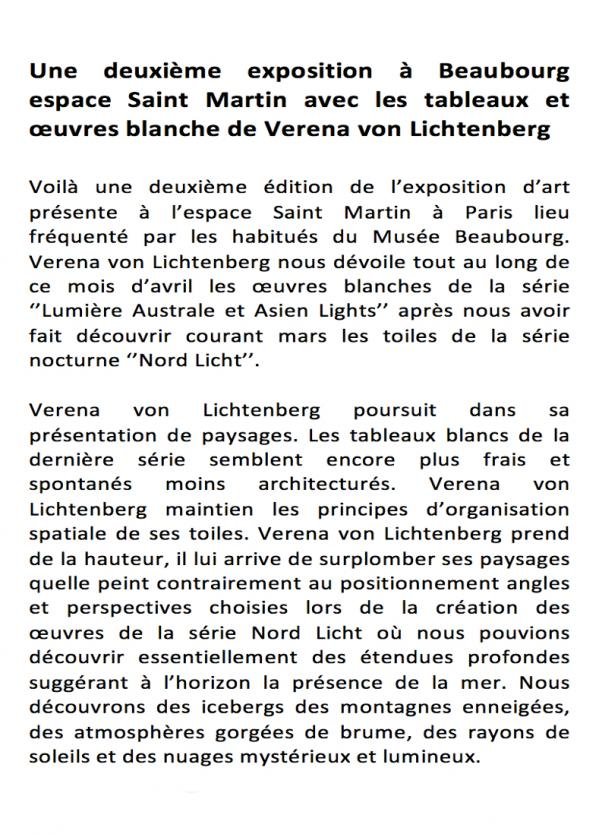 3 exposition d art et de peinture l artiste peintre verena von lichtenberg est a paris beaubourg espace st martin