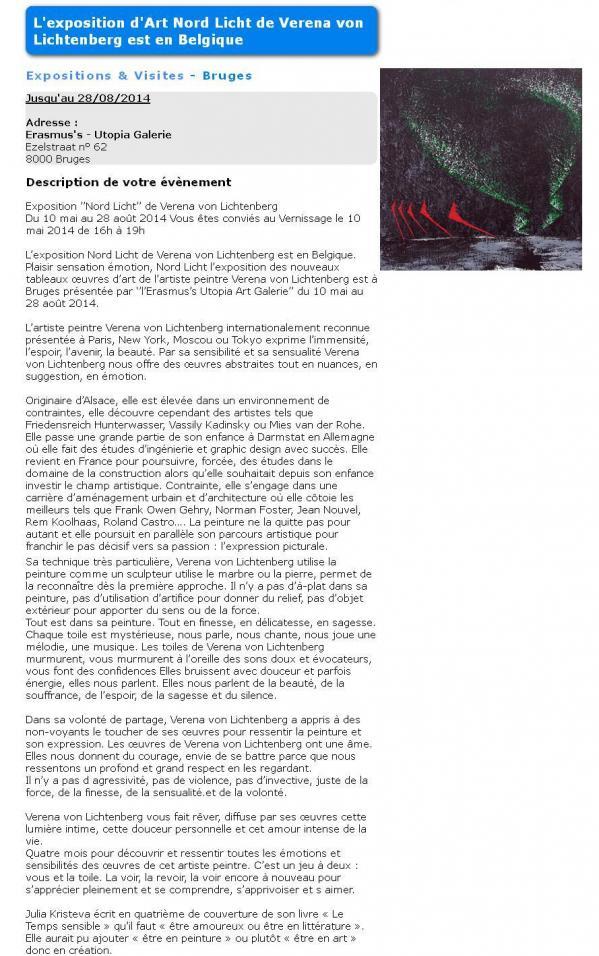 Art et exposition article close events l artiste peintre verena von lichtenberg et l exposition nord licht a bruges en belgique