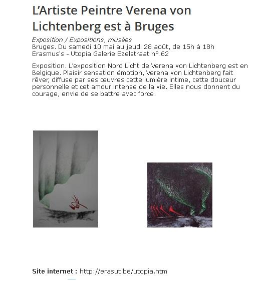 Art exposition a bruges erasmus s utopia contrast art galerie and the painter verena von lichtenberg her artworks nord licht ar in brugge in belgium