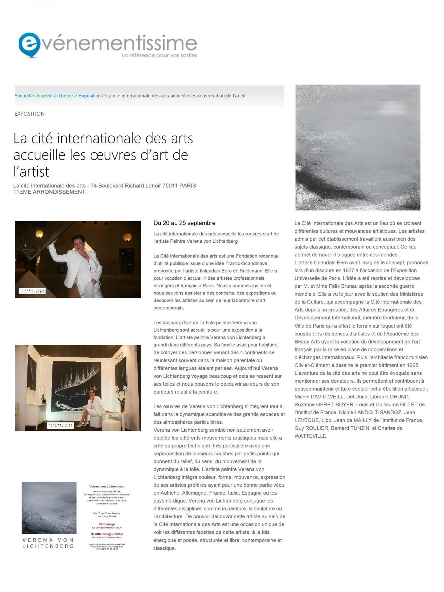 Artiste peintre a paris verena von lichtenberg a la cite internationale des arts exposition d art contemporaine tableaux toiles et oeuvres d art a paris naew york tokyo moscou
