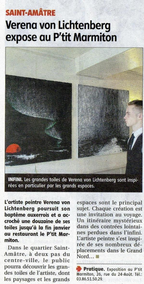 Auxerre the painter from strasbourg verena von lichtenberg and her art exhibition nord licht republicaine presse