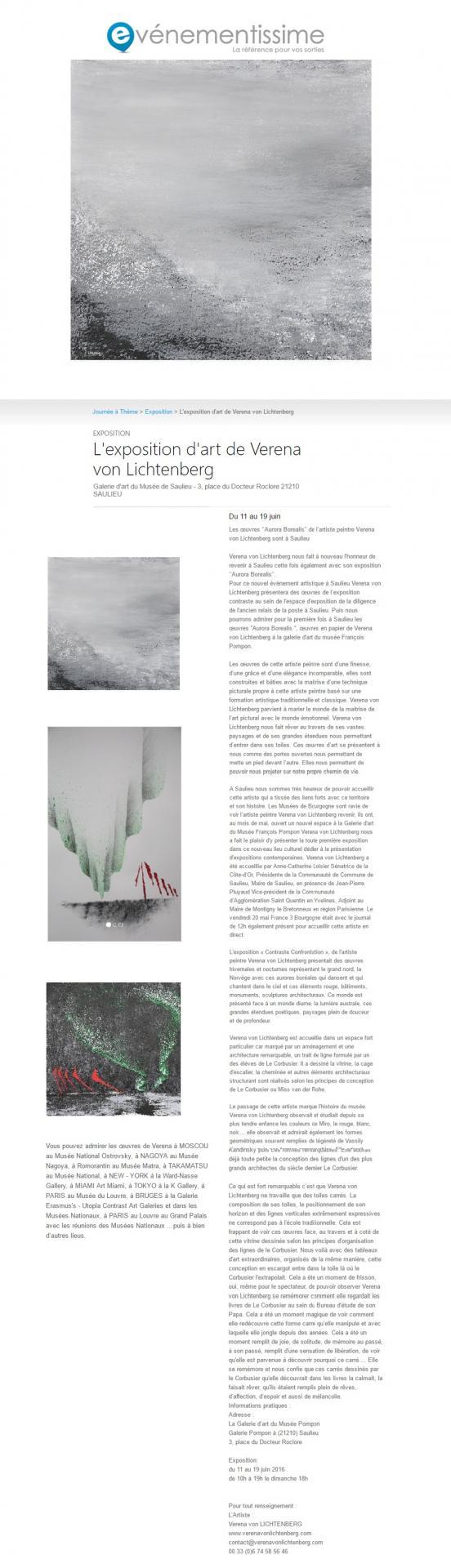 Evenementissime verena von lichtenberg die malerin und kunstlerin aus paris ist in der bourgogne saulieu mit ihrer kunstausstellung bilder und werke im museum und kunstgalerien in