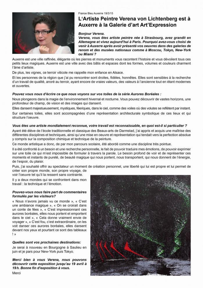 Interview france bleu auxerre avec l artiste peintre verena von lichtenberg et l exposition d art nord licht a auxerre des tableaux et oeuvres d art moderne