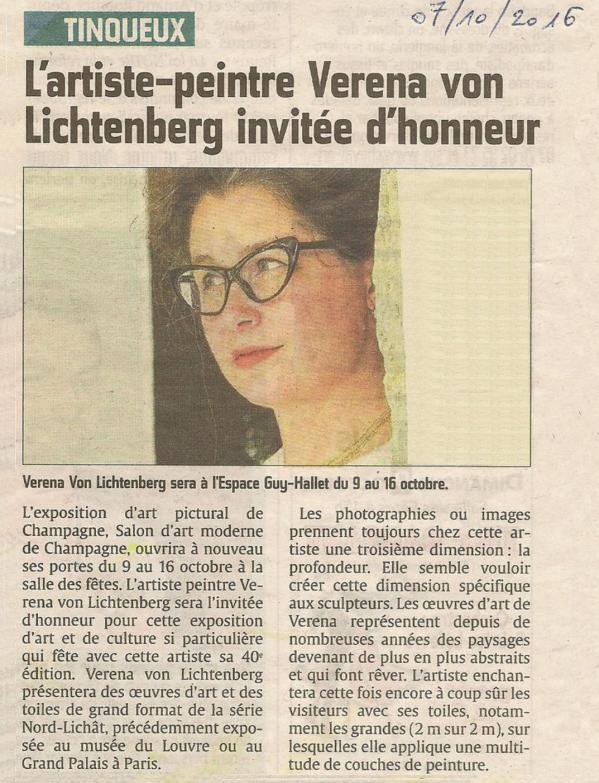 Journal l union die malerin verena von lichtenberg und ihre kunstausstellung in reims tinqueux