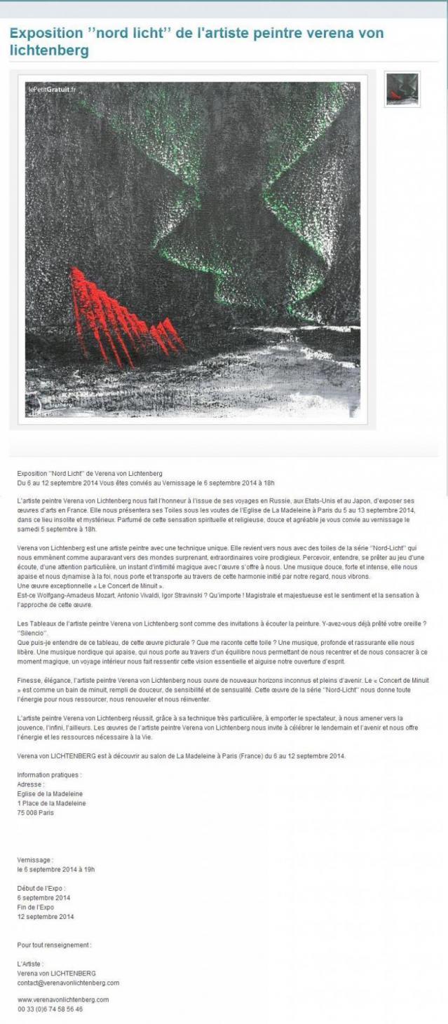 L artiste peintre verena von lichtenberg est a paris a l eglise de la madeleine avec ses oeuvres d art nord licht