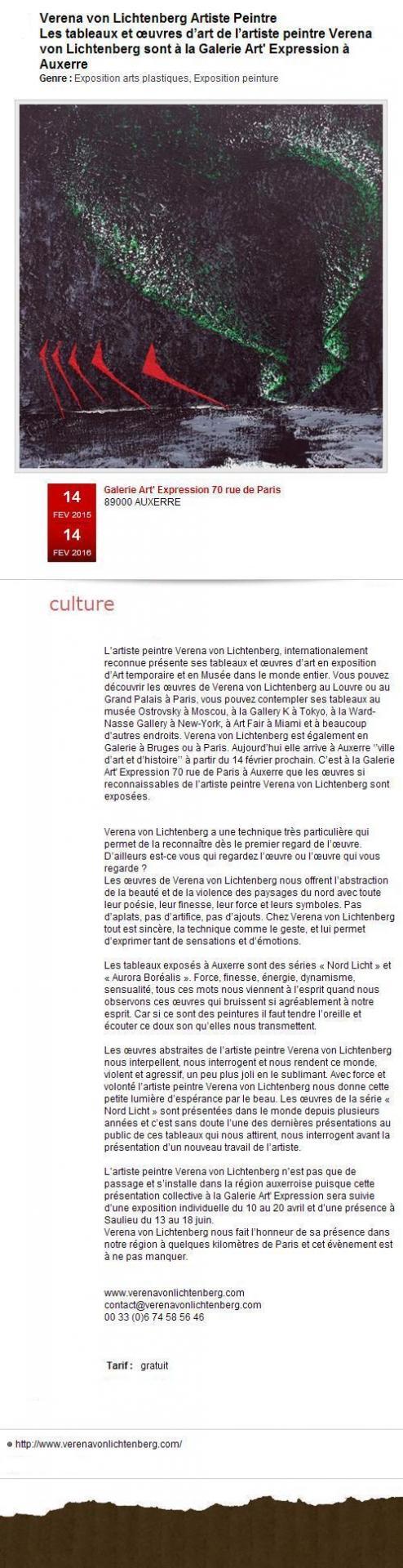 L artiste peintre verena von lichtenberg et les oeuvres d art et tableaux de l exposition d art nord licht a auxerre en art galerie art expression