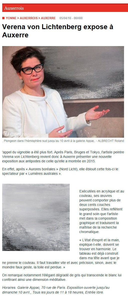 L yonne republicaine the painter verena von lichtenberg and her exhibition lumiere australe and nord licht in the gallery art expression in auxerre
