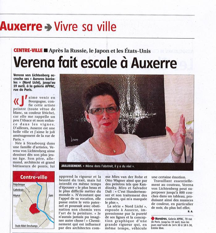 L yonne the painter verena von lichtenberg and her exhibition in auxerre
