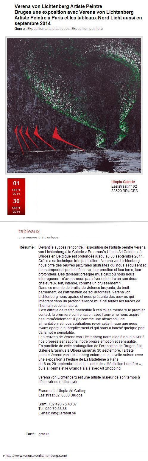 La galerie utopia contrast art galerie et la deuxieme prolongation de l exposition nord licht de l artiste peintre verena von lichtenberg de paris