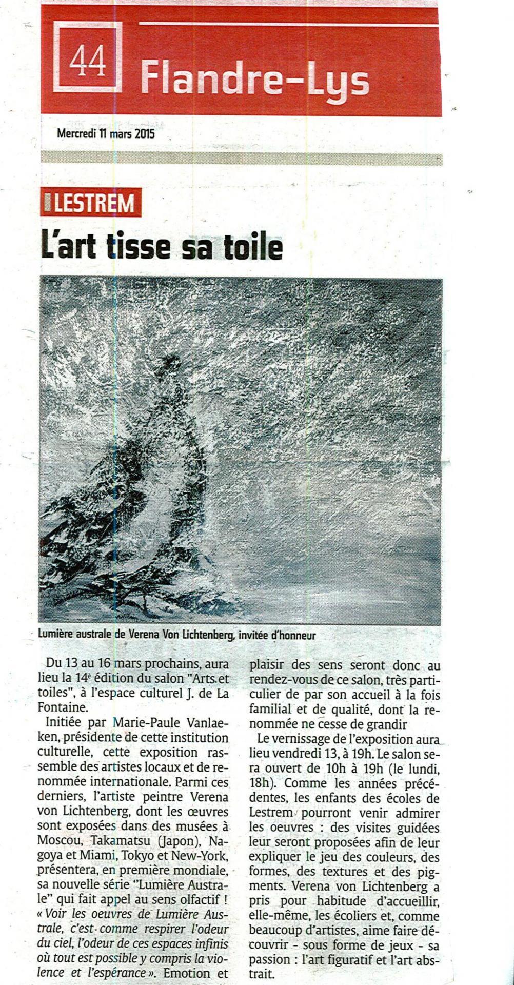 Press l indicateur the exhibition nord licht and the artist painter verena von lichtenberg in lestrem nord licht