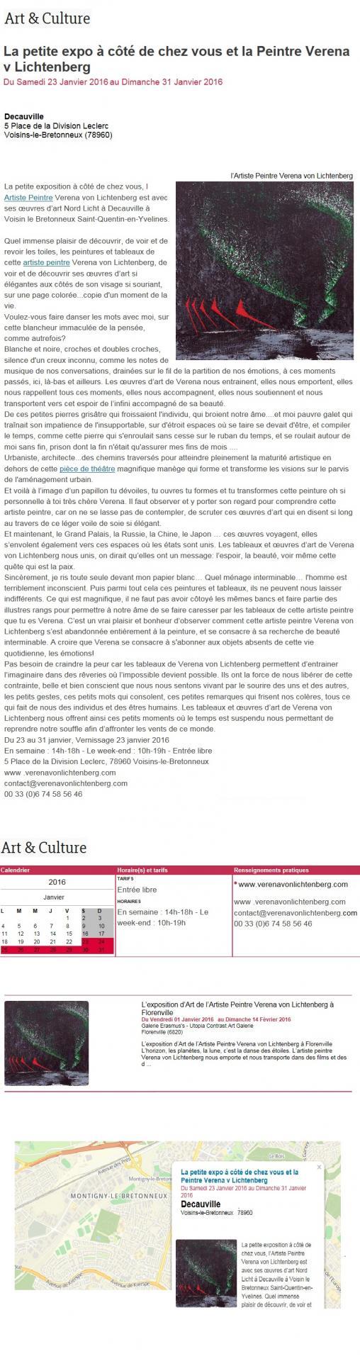Presse l artiste peintre verena von lichtenebrg et l esposition d art nord licht des tableaux et oeuvres d art a saint quentin en yvelines paris tokyo ou new york