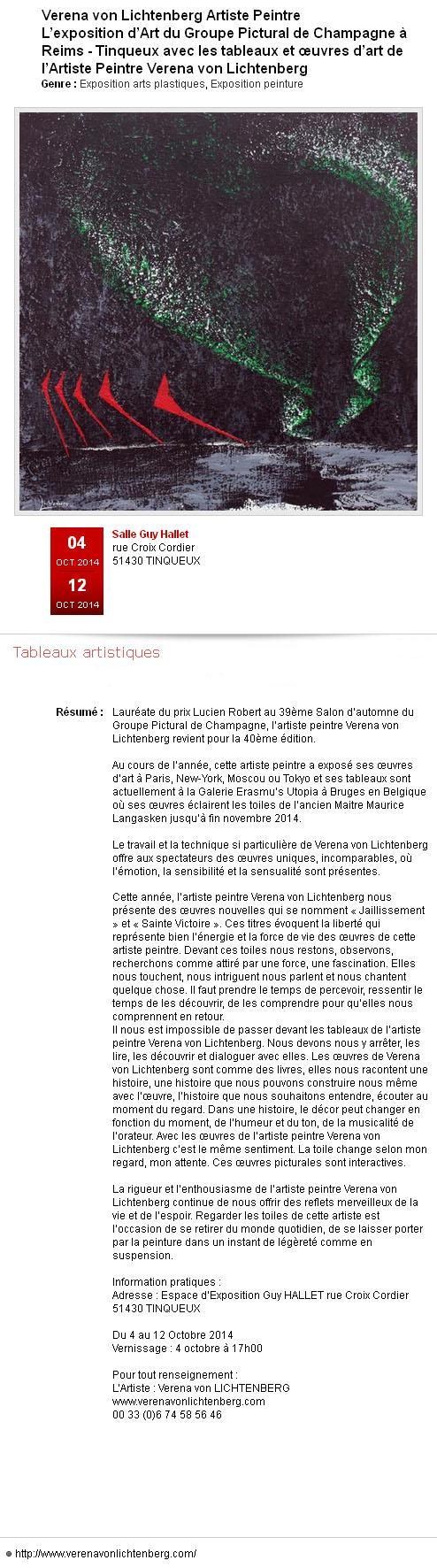 Presse verena von lichtenberg artiste peintre et l exposition d art pictural de champagne une exposition a tinqueux reims
