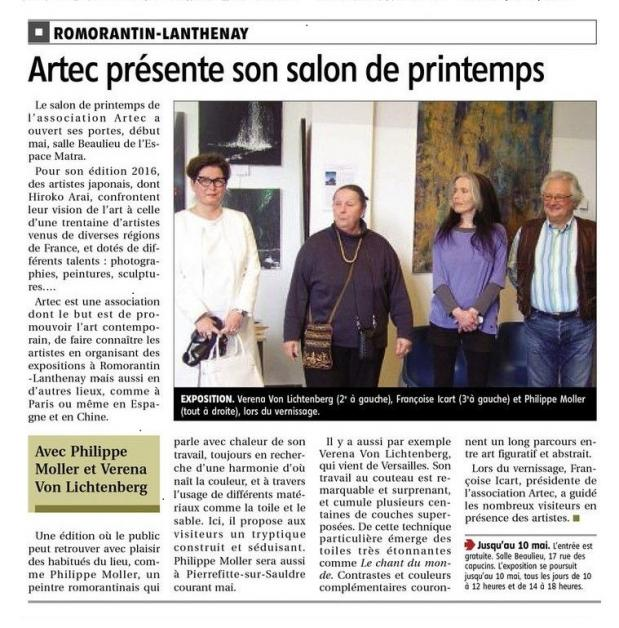 The exhibition nord licht and the painter verena von lichtenberg in romorantin in the museum matra and artec the art promotion and her president francoise icart