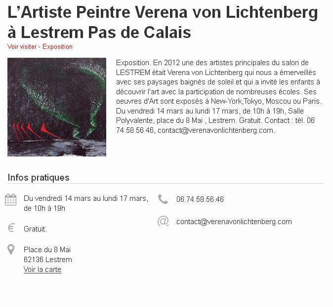 The painter verena von lichtenberg and the work nord licht in lestrem nord pas de calais