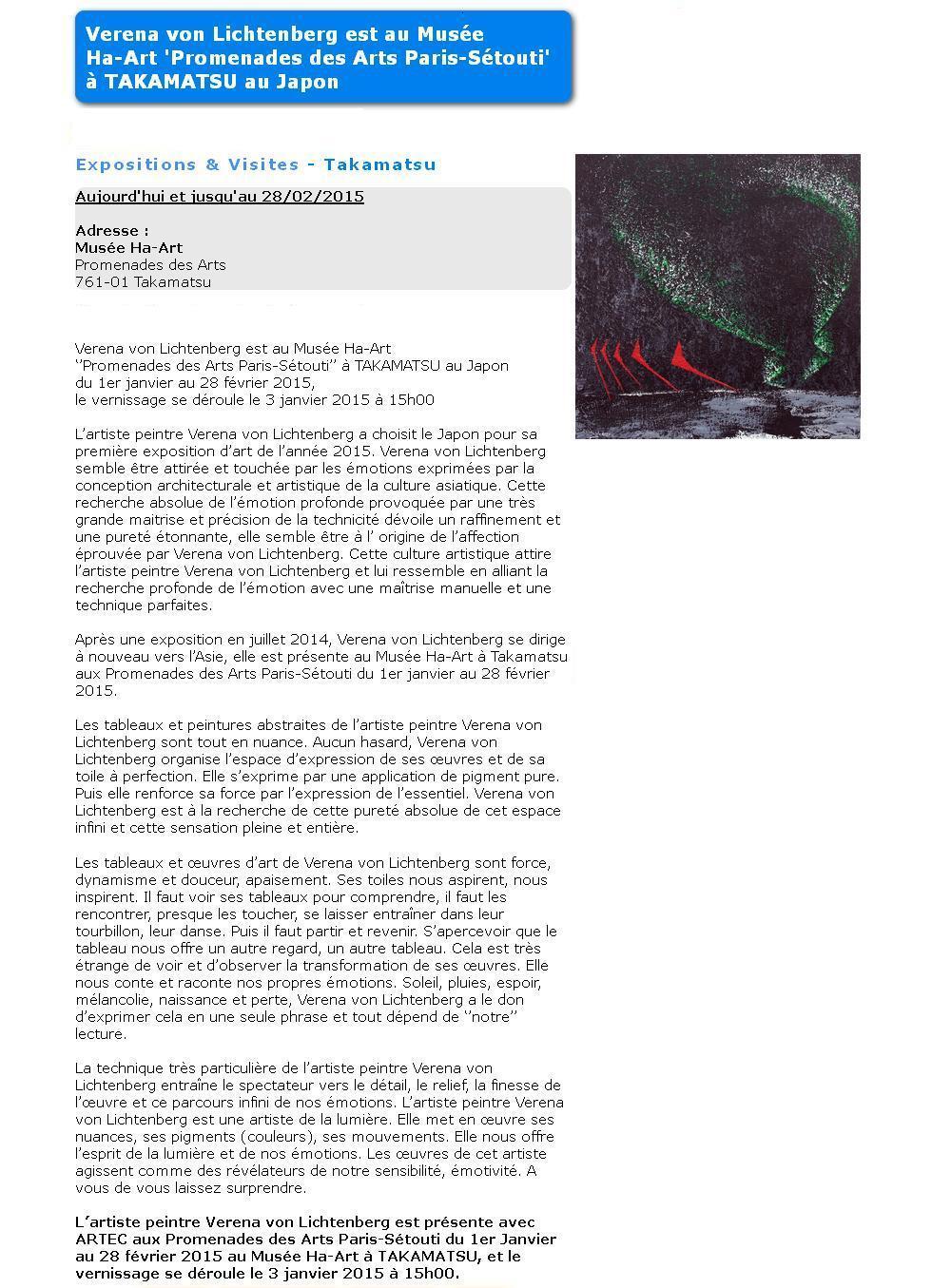 Verena von lichtenberg une artiste peintre de paris elle est au misee takamatsu au japon avec ses tableaux et oeuvre dd art de son exposition d art nord licht