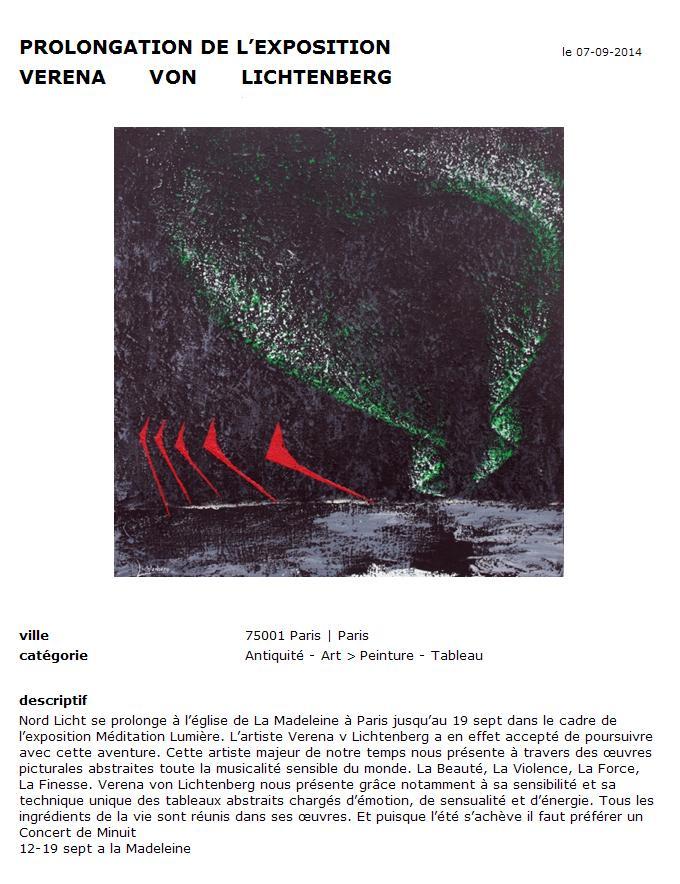 Verlangerung des kunstaustellung nord licht der kunstlerin verena von lichtenberg in der kirche la madeleine salle royal in paris